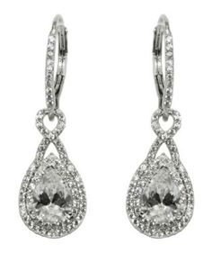 Deja Double Halo Pear Drop Earrings | 4.5ct | Cubic Zirconia | Silver
