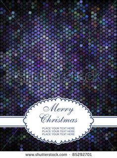 Merry Christmas card ,shiny mosaic background  with snowflakes - stock vector