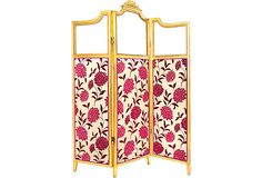 "Gilt 19th-C. French Screen - This gilt 19th-century French screen is a show-stopper. Much detail has gone into this hand-crafted piece. The fabric gives it a contemporary feel. Product dimensions are when folded. Each panel is 18""W."