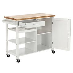 Amazon.com: Homegear Utility Kitchen Storage Cart Island with Rubberwood Cutting Block Brown: Kitchen & Dining