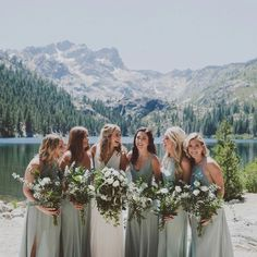 Mumu wedding - Bridesmaids in Silver Sage mumuweddings Mumu Wedding, Wedding Show, Wedding Goals, Dream Wedding, Wedding Day, Wedding Planning, Summer Wedding, Trendy Wedding, Hawaii Wedding