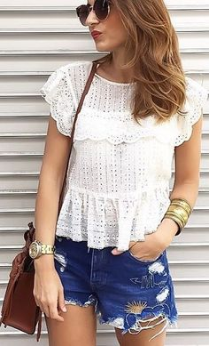 #summer #desert #outfits |  White Lace Blouse + Cut Offs