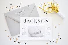 Lauren Chism New Year Birth Announcement Jacksons Sleek Black + White Birth Announcements #Naissance