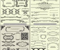 Vector vintage decorative elements for ornate designs (ornate frames, decorative borders, title decorations and ornaments). Format: EPS stock vector clip art. Free for download.  Theme: vector ornaments, decorative elements.
