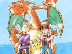 "Pokemon (ポケモン) - ""Rivals"" Concept Artwork by Ken Sugimori Old Pokemon, Pokemon Games, Ash From Pokemon, Pokemon Red Gameboy, Gary Pokemon, Pikachu Pokeball, Pokemon Poster, Pokemon Charizard, Nintendo Pokemon"