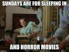 I wish I could sleep in but I do get my horror fix :) Monster Horror Movies, Horror Films, Horror Stories, Movie Memes, Funny Memes, Hilarious, Stanley Kubrick The Shining, Best Horrors, Happy Fun