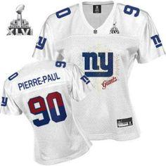 New York Giants Jason Pierre Paul Women White Fem Fan 2012 Super Bowl Jersey 243590f29