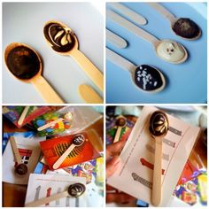 Chocolate spoons with recycled Christmas cards