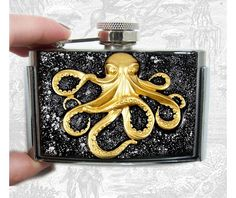Flask Belt Buckle Octopus 3 Oz. Flask Black W Silver
