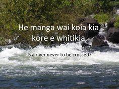 He manga wai koia kia kore e whitikia. Is a river never to be crossed? Proverbs, Teaching Resources, Fails, Preschool, University, Classroom, River, Sayings, Movie Posters