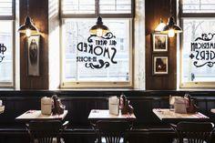 Red Dog restaurant by designLSM, Nottingham – UK Dog Restaurant, Restaurant Concept, Nottingham Uk, Uk Retail, Restaurant Interior Design, Restaurant Interiors, Tin Tiles, Café Bar, Cafe Style