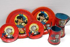 Vintage 1940's Ohio Art Tin Tin Set. VintageTreasureHuntn on Etsy.