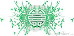 Image representing the chinese symbol of double happiness on an abstract colorful background