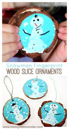 A cute kid made Christmas ornament and keepsake. Toddlers, preschoolers and older children can have fun with this rustic Christmas craft. Kids Make Christmas Ornaments, Rustic Christmas Crafts, Christmas Gifts For Parents, Preschool Christmas, Toddler Christmas, Christmas Wood, Preschool Crafts, Holiday Crafts, Xmas
