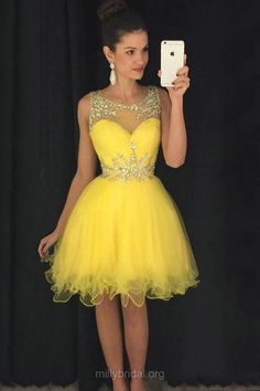 Girls Yellow Homecoming Dresses,Cute A-line Scoop Neck Party Gowns,Tulle with Beading Cocktail Dress,Short/Mini Prom Dresses