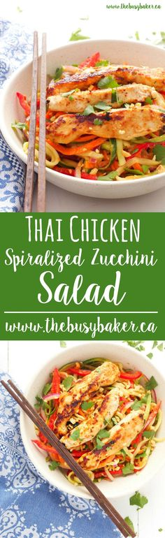 This Thai Chicken Spiralized Zucchini Salad is a healthy Asian-inspired meal featuring grilled chicken breast, spiralized veggies, and an easy peanut sauce! Clean Eating, Healthy Eating, Easy Peanut Sauce, Asian Recipes, Healthy Recipes, Healthy Breakfasts, Thai Recipes, Healthy Snacks, Comida India