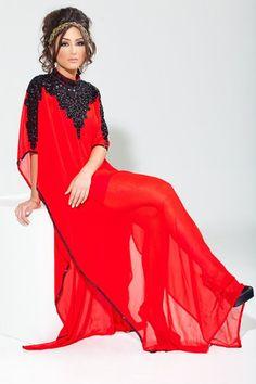 Red with Black Beaded Long Kaftan