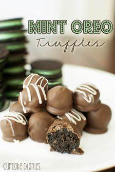 Mint Oreo Truffles - Treats for the Family - Health Desserts, Just Desserts, Delicious Desserts, Dessert Recipes, Yummy Food, Cake Recipes, Mint Recipes, Health Foods, Christmas Desserts