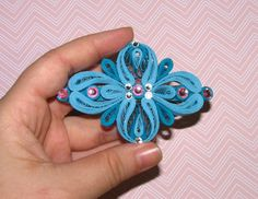 Quilling Barrette Blue Hair jewelry Hair accessories gift women Stylish hair…