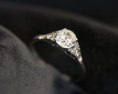 Vintage Diamond Platinum Solitaire Engagement Ring - if i wanted something big i think this would be it 1920s Engagement Ring, Girly Things, Girly Stuff, Wedding Ideas, Wedding Stuff, Dream Wedding, Pretty Rings, Diamond Solitaire Rings, Platinum Ring