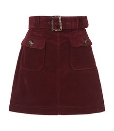 ALEXA CHUNG Red A-Line Corduroy Skirt. #alexachung #cloth #