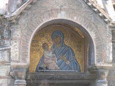 Mary and Child Mosaic Icon on Agios Eleftherios Church
