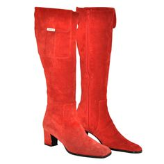 Yves Saint Laurent Bold Red Suede with Side Pocket High Boots | From a collection of rare vintage shoes at https://www.1stdibs.com/fashion/accessories/shoes/