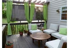 30 Amazing backyard patio deck design ideas - Page 7 of 32 Outdoor Rooms, Outdoor Living, Outdoor Furniture Sets, Outdoor Decor, Outdoor Privacy, Backyard Privacy, Porch Privacy, Outdoor Parties, Privacy Curtains