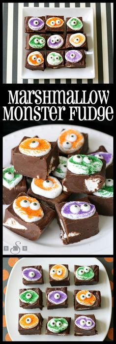 Marshmallow Monster Fudge takes a simple and delicious fudge recipe, and adds these adorable monster faces to the top to make an easy and cute Halloween treat! Cute Halloween Treats, Halloween Food For Party, Haunted Halloween, Halloween Goodies, Halloween Celebration, Halloween Desserts, Halloween Cakes, Halloween 2017, Happy Halloween
