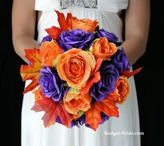 purple and orange wedding bouquets | Purple and Orange Brides Bouquet Wedding Flowers Blue could easily replace the purple, leaves add texture...
