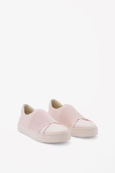 COS image 2 of Wrap-over leather sneakers in Light Pink