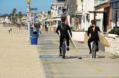 Ride bikes along the sand boardwalk