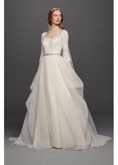 Oleg Cassini Organza 3/4 Sleeved Wedding Dress at David's Bridal