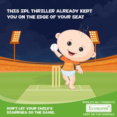 Rajasthan Royals braved through some nervous moments in the last few balls from Sunrisers Hyderabad. Don't let your child's Diarrhea make you nervous, Econorm has your back!