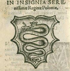 Герб Боны Сфорца з прысвечанага ёй трактату Мацея Сарфенберга «Emblematum Liber». 1542 г.