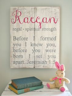 Sign with baby name/meaning and Scripture below