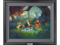 """Winnie the Pooh, Rabbit, Tigger, Piglet Framed Wall Art """"Puddle Jumping"""" by Michael Humphries - Disney Fine Art Silver Series"""