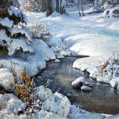 """Winter Spring"" 12x12 oil ~ Michael Godfrey Fine Art."