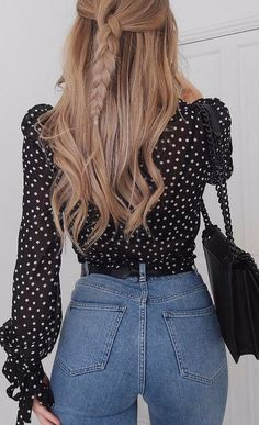 Polka Dot Obsession Blouse Mixing With Denim