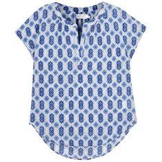 Velvet Womens Short-Sleeved Tops Velvet Nuku Blue Printed Cotton Blend... (4,065 MXN) ❤ liked on Polyvore featuring tops, short sleeve tops, velvet tops, ruched top, blue top and blue short sleeve top