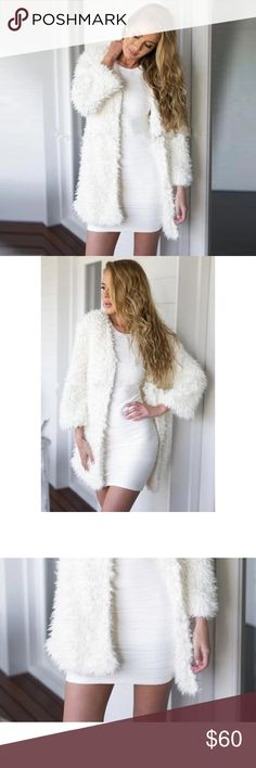 🆕Fuzzy White Faux Fur Coat Fuzzy and warm! You'll love this brand new white fuzzy faux fur coat as a new addition to your winter wardrobe. Available in sizes small, medium and large. RIIBS Jackets & Coats