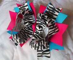 Pink and Turquoise Zebra Hair Bow