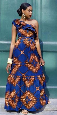 dresses modern unique African one shoulder maxi dress , Ankara dress with flounce, Sleeveless wax print dress African Maxi Dresses, Latest African Fashion Dresses, African Inspired Fashion, African Dresses For Women, African Print Fashion, Africa Fashion, African Attire, African Wear, Ankara Fashion