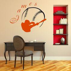 Wall Decal Vinyl Sticker Sport Baseball Ballplayer Ball Bat Game Team Monogram Boy Personalized Name Baby Kids Club Home Decor Murals M57