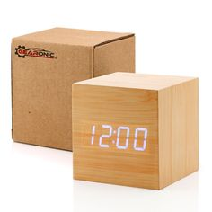 Amazon.com: GEARONIC TM Ultra Modern Wooden LED Clock Square Cube Digital Alarm Thermometer Timer Calendar Updated 2016 Brighter LED - Bamboo: Home & Kitchen