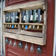 Pallet wine rack...I like the tilted bottles