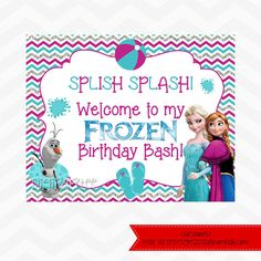 Frozen POOL Party Welcome Sign INSTANT DOWNLOAD by dpdesigns2012