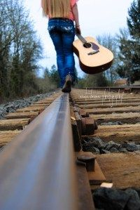 a girl and her guitar...railroad tracks - going places  nicole briann photography