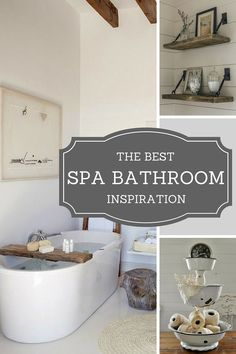 Beautiful Spa Bathroom DIY Ideas! I Love The Bathtub Caddy!
