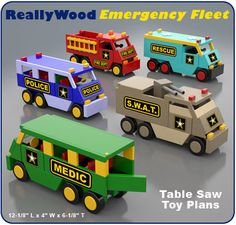 ReallyWood Emergency Fleet Wood Toy Plan Set